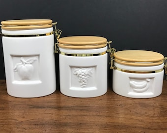 Vintage White Kitchen Canister Set - 3 Ceramic Fruit Embossed Canisters w/ Wood Lids & Brass Latches - Modern Farmhouse Chic Storage Jars