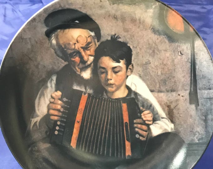"""Norman Rockwell Collectors Plate - """"The Music Maker"""" - Heritage Collection - Certificate - Numbered - Knowles - Fine Porcelain China - Gift"""