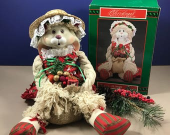 "Vintage Christmas Bunny Decoration - House of Lloyd ""Flossie"" Mop Holiday Doll - 16"" Rabbit Shelf Sitter - Christmas Mantle Decor - X-Mas"