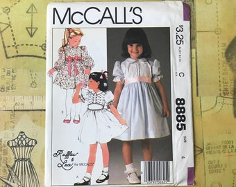 Girl's UNCUT Sunday Dress Sewing Pattern - McCall's Ruffles & Lace Children's Dresses w/ Cummerbund 2 Styles - Size 4 or 8 Unused FF Pattern