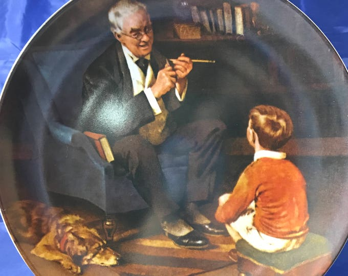 "Norman Rockwell Collectors Plate - ""The Tycoon"" - Heritage Collection - Certificate - Numbered - Knowles - Fine Porcelain China - Gift"