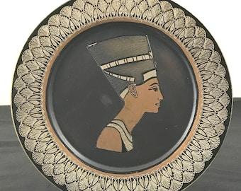 Vintage Etched Brass Egyptian Nefertiti Wall Plaque - Queen of Egypt Bohemian Wall Plate - Retro Pharaoh Goddess Decor - Boho Home Decor