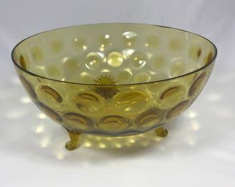 Amber Glass Optic Centerpiece Bowl - Vintage Handblown Dots Pattern Large Dish with Sunburst Swirl Feet - Groovy Retro Home Decor -