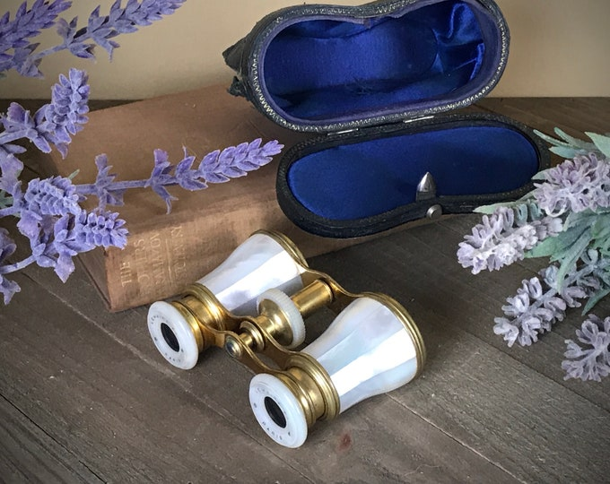 Featured listing image: Elegant Antique Mother of Pearl & Brass Opera Glasses w/ Blue Velvet Lined Case LeMaire Paris, France - French Victorian Theater Binoculars