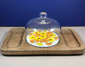 Cheese Cutting Board w/ Glass Dome - Retro Bohemian Flower Porcelain Tile - Vintage Goodwood Teak Wood Cheese & Cracker Tray -Cloche Platter