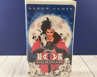 Walt Disney's 101 Dalmatians VHS Home Video -Live Action Disney Movie - Clam Shell Case - Family Film - Dog Animal Adventure - Cruella DeVil