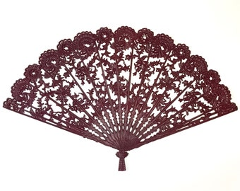 "Large Burgundy Oriental Fan Wall Hanging - 43"" Vintage Burwood / Syroco Style Lace Fan Art - Mid Century Modern Wine Red Asian Decor - MCM"