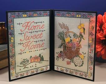1970's Home Sweet Home Glass Folk Art - Folding Faux Stained Glass - Country Farmhouse Decor - Yorkraft - Pennsylvania Dutch Made - Mom Gift