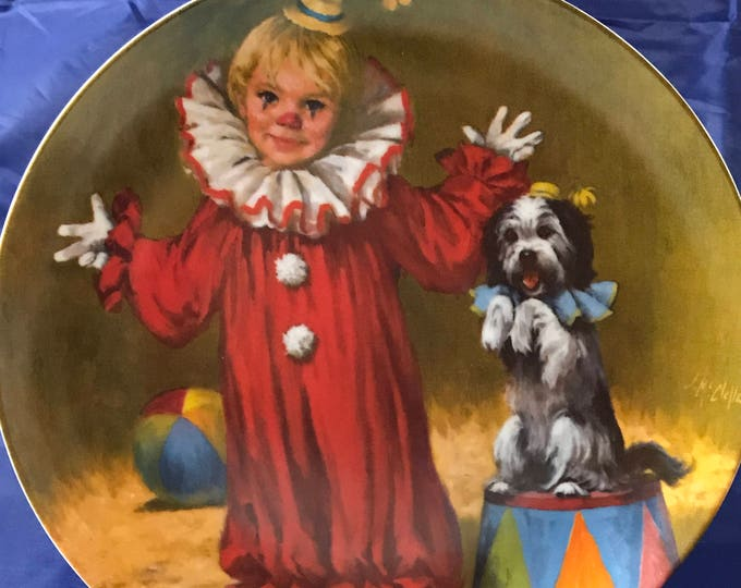 "Reco ""Tommy The Clown"" Collectors Plate - John McClelland - 1982 Limited Edition - Knowles Fine Porcelain China - Little Boy & Shaggy Dog"