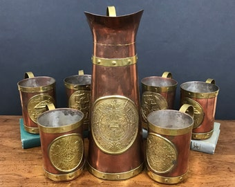 Vintage Copper & Brass Embossed Medallion Pitcher and Tankard Mugs - 7 pc. Aztec Mayan Calendar Drink Set Teotihuacan Mexico Pyramid Warrior