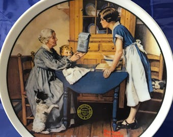 """Norman Rockwell 1983 Mother's Day Collectors Plate - """"Add Two Cups and a Measure of Love"""" - Certificate - Numbered - Knowles - Porcelain"""