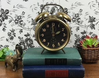 Vintage Brass Bradley Mechanical Alarm Clock w/ Double Bell & Peg Legs - Steampunk Decor - German Bedroom Clock For Display, Parts or Repair