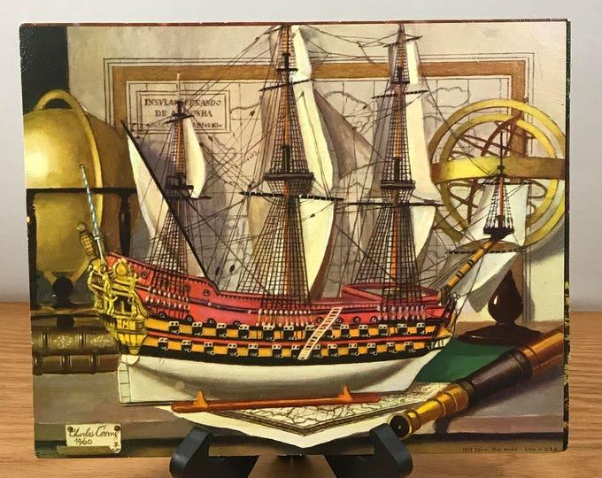 Model Clipper Ship Litho Print - 1960's 8x10 Charles Cerny Nautical Lithograph - Sheffield - DAC NY - Boat Art - Ship Decor