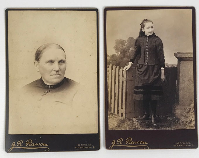 2 Antique Photograph Cabinet Cards - Late 1800's Pictures of Old Woman & Young Girl - Vintage Edwardian Photos - J.R. Pearson Photography