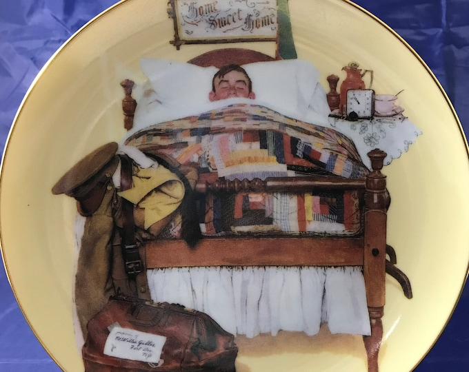 """Norman Rockwell American Heroes Collectors Plate - """"Home Sweet Home"""" - Certificate Included / Numbered - Danbury Mint - 23k Gold - Militaria"""