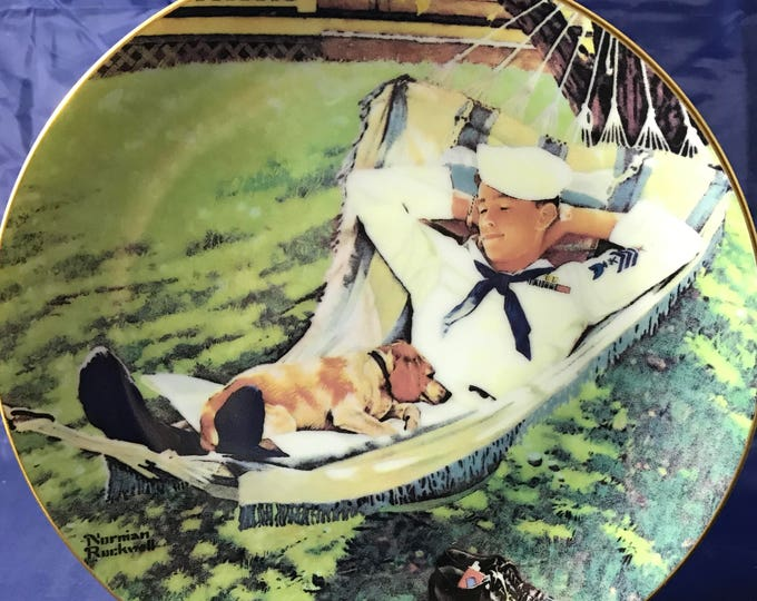 """Norman Rockwell American Heroes Collectors Plate - """"On Leave"""" - Certificate Incl. / Numbered - Danbury Mint - 23k Gold - Militaria - Navy"""