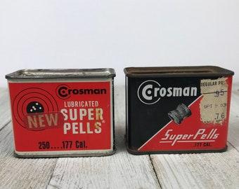 2 Vintage Crosman Super Pells / Pellets in Metal Can - Unopened Full & Partial Tin Box of .177 Caliber BB Gun / Pellet Gun Shots - Dad Gifts