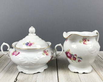 Walbrzych Floral Sugar Bowl & Creamer Set - Fine China Made in Poland White Porcelain Pink Roses Cream Pitcher Pair - Victorian Tea Party