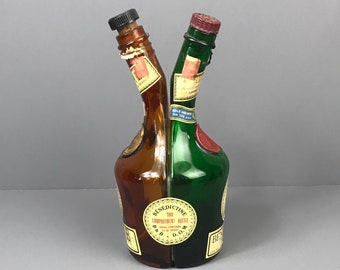 Rare Vintage French Brandy Bottle Double Two Compartment Benedictine B&B D.O.M Fused Glass Bottles - Unique Green and Amber Liquor Decanter