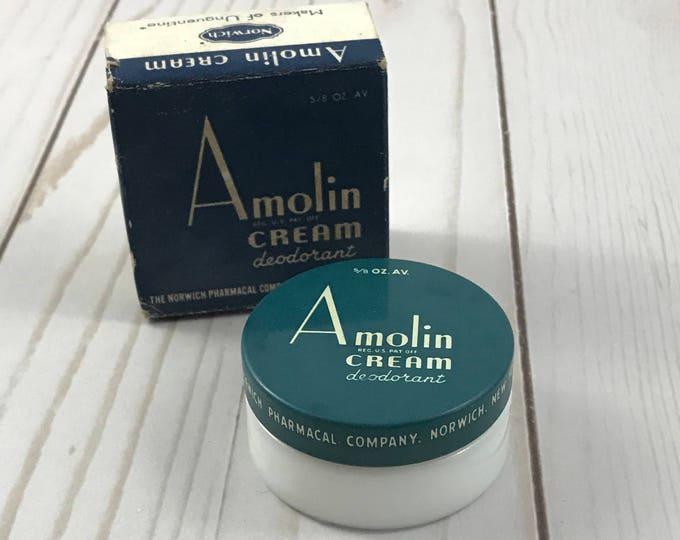 1950's Amolin Cream Deodorant - Milk Glass Jar in Box - Unused - Vintage Vanity - Boudoir - Bathroom Decor - Shabby Chic - Mid-Century Ads