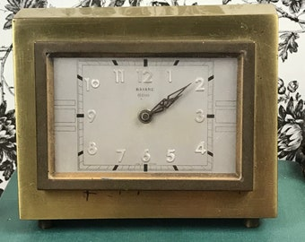 Bayard Brass Art Deco Table Clock - 8 Day 7 Jewel French Mechanical Mantel Clock in Brass Case - 1930's Office Desk / Fireplace Decor France