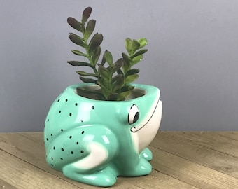 Vintage Ceramic Frog Planter Pitcher - Green Froggy Planter for Cactus, Air Plants & Succulents - Retro Frog Creamer - Anthropomorphic Frogs