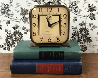 Rare Lux Esquire Mechanical Alarm Clock - 1930's Art Deco Chippy Industrial Decor - Steampunk Desk Clock - For Display, Props, Parts, Repair