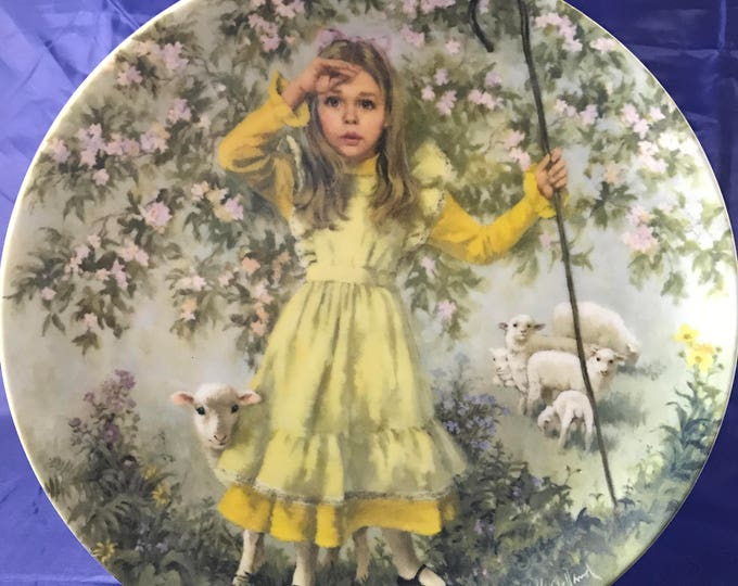 Little Bo Peep Mother Goose Collectors Plate from Reco International - w/ Certificate - John McClelland - Victorian Childhood Decor - Sheep