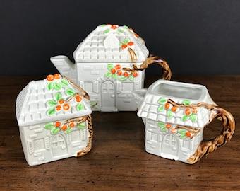 Vintage Cottage Teapot w/ Sugar Bowl & Cream Pitcher - Enesco House w/ Orange Trees Tea for Two Set - Cute Collectible Novelty Tea Pot Gift
