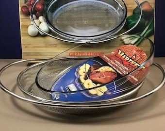 Towle Silver Roaster & Server - NOS - Vintage Marinex Glass Roasting Pan - Ornate Silver Plate Net Design - Large 3 qt Casserole Dish - Gift