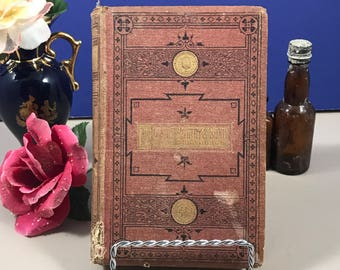 Antique Poetry Book - 1868 Poetry & Songs For the Young - Red / Orange Book Decor - Poems - Gold Edges - Embossed - Illustrations - Gift