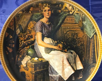 "Norman Rockwell Collectors Plate - ""Dreaming In The Attic"" - Rediscovered Women - Certificate - Numbered - Knowles - Porcelain China - Gift"