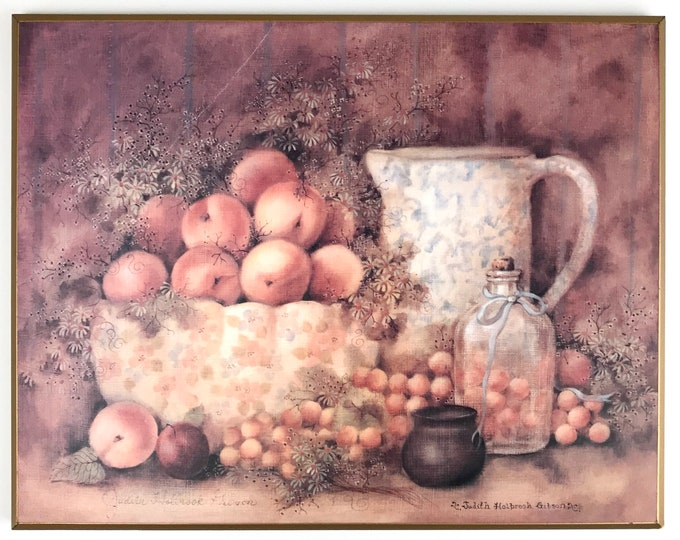Vintage Kitchen Wall Decor - Botanical Fruit Still Life - Rustic Farmhouse Dining Room Art - Wood Wall Plaque - Peaches Daisies Wall Hanging