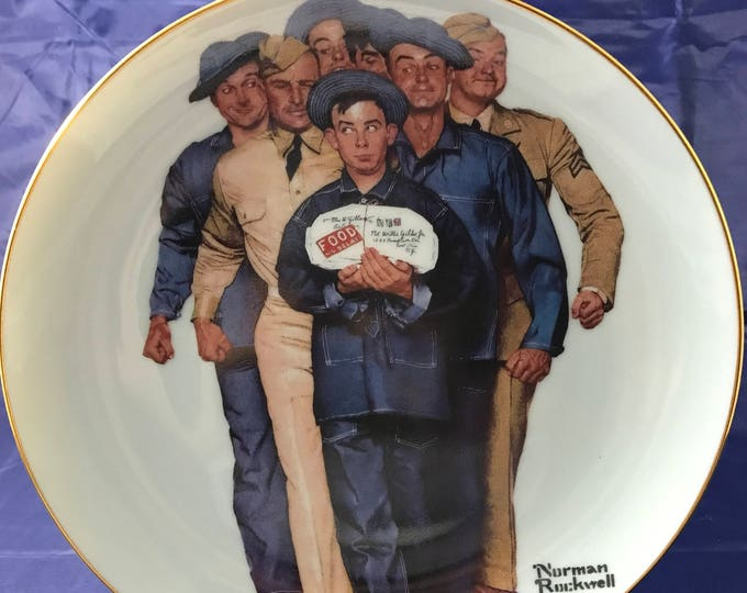 """Norman Rockwell American Heroes Collectors Plate - """"Package From Home"""" - Certificate Incl. / Numbered - Danbury Mint - 23k Gold - Militaria"""