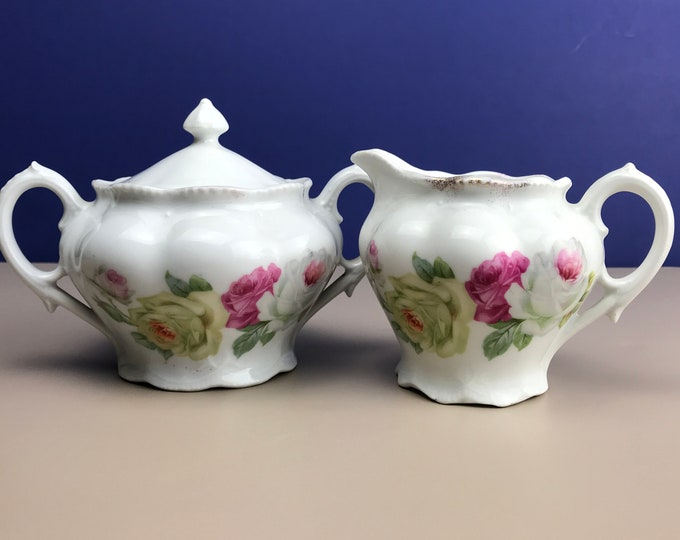 Bavarian Sugar Bowl & Creamer Set - Vintage Floral Porcelain China Tea Party Service Accessories - Floral Rose Table Decor - Cream Pitcher