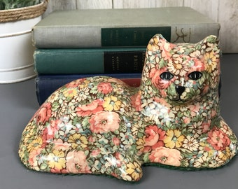 Vintage Floral Chintz Lounging Cat Statue - Retro Decoupage Lacquered Fabric Covered Ceramic Cat Figurine - Kitschy Kitty Mantel Shelf Decor