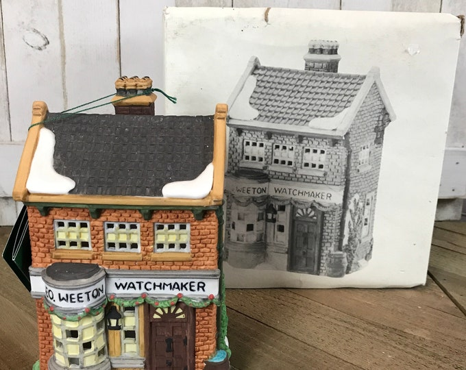 GEO Weeton Watchmaker Shop Christmas Village Building from Department 56 Dickens Village Series - Light Up Holiday Display House Decoration