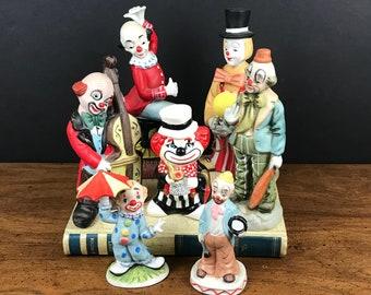 Vintage Ceramic Clown Figurines Lot - 7 Hobo Clowns Statuettes - Mid Century Modern Kitsch Shelf Statues - Kitschy Cute Circus Nursery Decor
