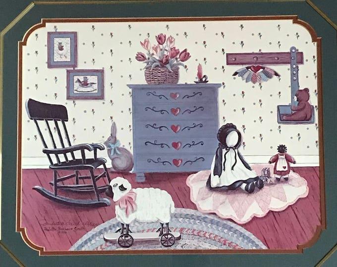 Nursery Folk Art Wall Hanging - Large Primitive Print - Baby's Room Decor - Paulette Barbour Smith - Artist Signed & Numbered- Framed Matted
