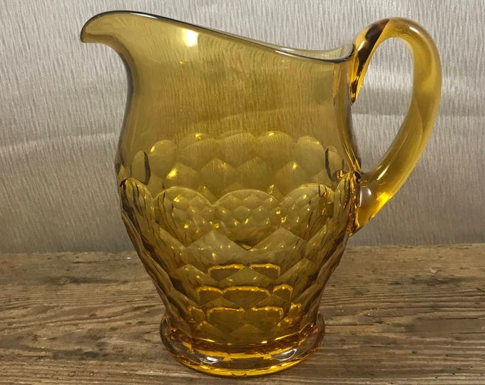 Vintage Amber Glass Pitcher - Honeycomb Dot Pattern - Mid-Century Modern Vase - Boho Decor - Retro Bohemian - Country French - Gift for Her