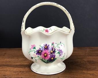 Vintage Cream White & Gold Trim Planter Basket - Pink Purple Flowers - Flower Girl Basket - Flower Pot Holder -  Candy Dish / Centerpiece