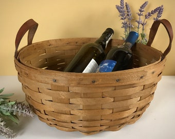 """Large Vintage Splint Wood 13"""" Gathering Basket w/ Dual Brown Leather Handles Handcrafted & Signed - Old French Farmhouse Woven Apple Basket"""