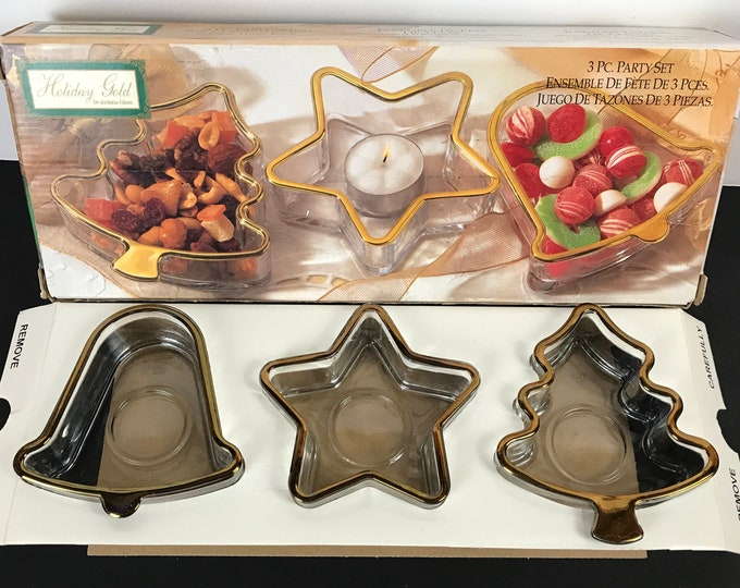 """Vintage Christmas Candy Dishes / Tea Light Candle Holders by Indiana Glass """"Holiday Gold""""  3 pc. Party Set - Xmas Ornament Shaped Nut Bowls"""