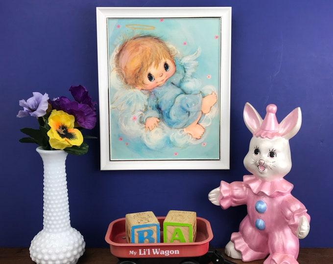"Hallmark's ""Little Angels"" 9x11 Blue Wall Hanging - 1970's Big Eyes Little Boy Framed Nursery Art Print - Vintage Baby Angel Child in Clouds"