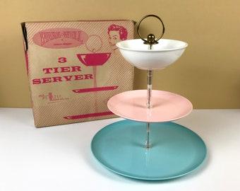 1950's Pink, Aqua Blue & White 3 Tier Server - Retro Mid Century Plastic Tidbit / Appetizer Serving Tray Set - MCM Snack or Party Platter