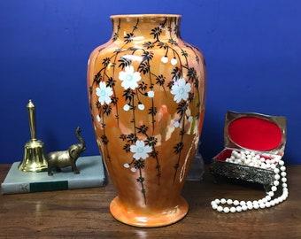 "Large Vintage Japanese Porcelain Enameled Vase - Hand Painted Orange / Peach with Cherry Blossoms - 12"" Urn Style Flower Vase Made in Japan"