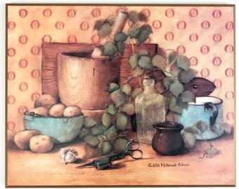 Vintage Kitchen Wall Decor - Still Life Rustic Art Wooden Wall Plaque - Vegetables, Herbs w/ Aqua Blue Enamel Cup, Colander, Mortar & Pestle