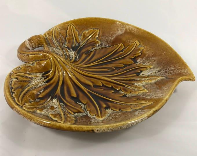Vintage Mid-Century California U.S.A Pottery Earth Tone Leaf Decorative Tray | Vanity, Serving Dish, Art Deco Home Decor, Vintage Kitchen