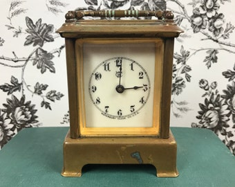 Antique Waterbury Brass Carriage Clock - Miniature 19th Century 1890's Coach Clock - Winding Shelf Mantel Clock For Display Parts or Repair