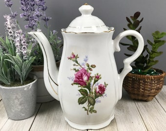 """Musical Porcelain Teapot Plays """"Tea for Two"""" with Pink Roses & Gold Trim Made in Japan - Vintage Music Box Climbing Rose Tall Coffee Pot"""
